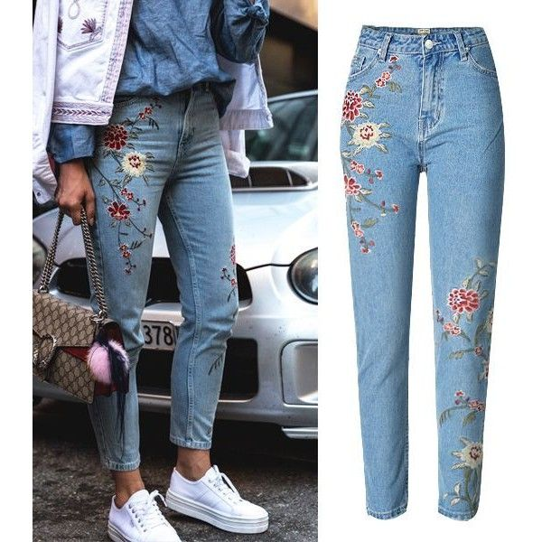 Gloria Embroidery Floral Jeans ($32) ❤ liked on Polyvore featuring jeans, embroidery jeans, blue floral jeans, checkered jeans, flower print jeans and embroidered jeans