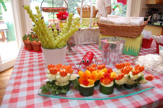 Pinterest inspired Bug Birthday Party Food Spread bugs