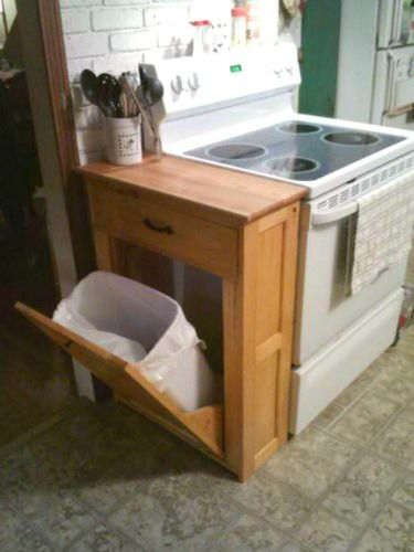 Hidden Tilt-Out Trash #diy #homedecor