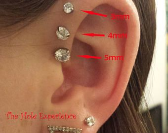 Forward Helix Earring Tragus Cartilage Earring 3 Prong Set