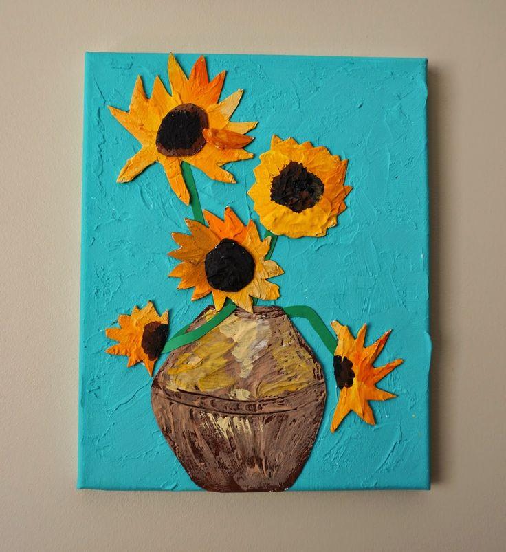 van Gogh Sunflowers - Grade 3 project.  Uses drywall filler, cardboard, paint, etc.