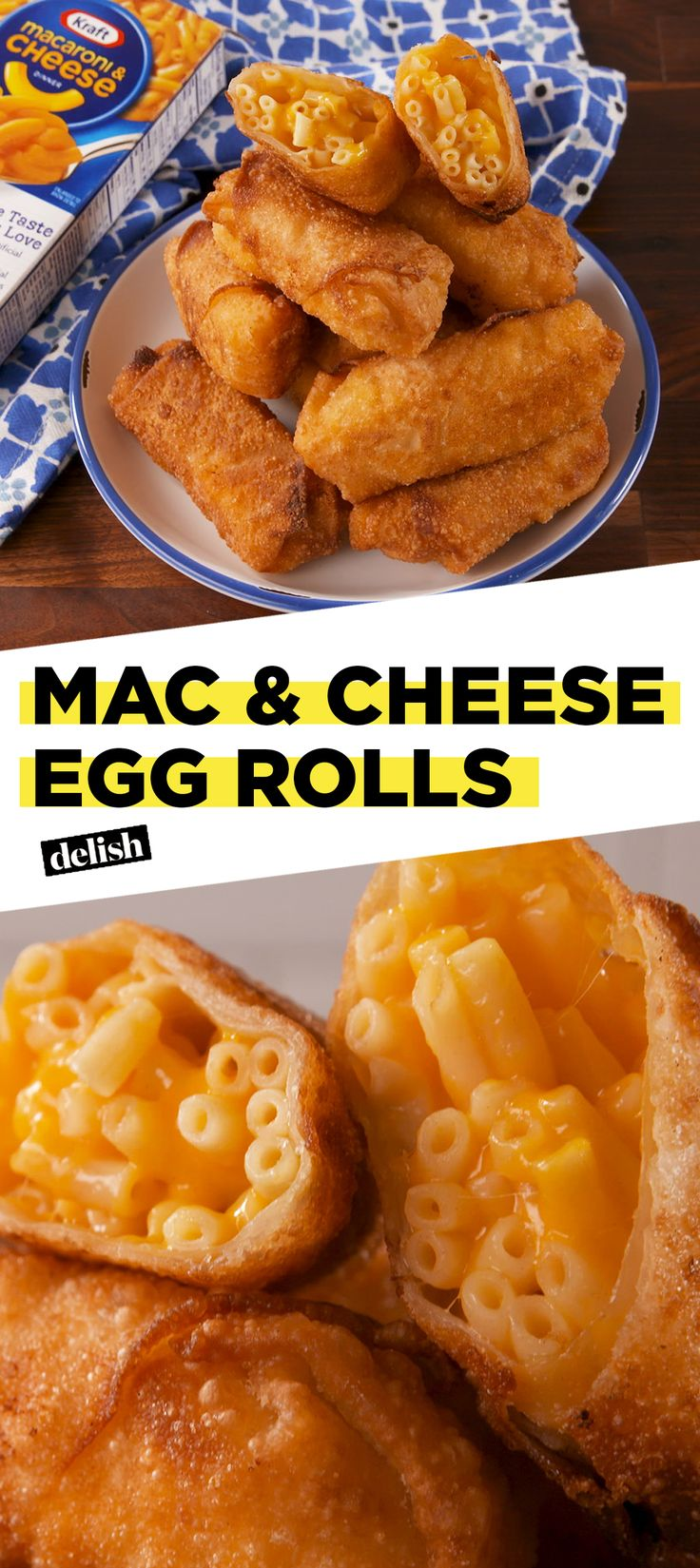 Mac & Cheese + Egg Rolls = the best thing to happen to 2018. Get the recipe at Delish.com. #recipe #easyrecipe #pasta #macandcheese #cheese #macaroni #eggroll #snack #nostalgia #snacking