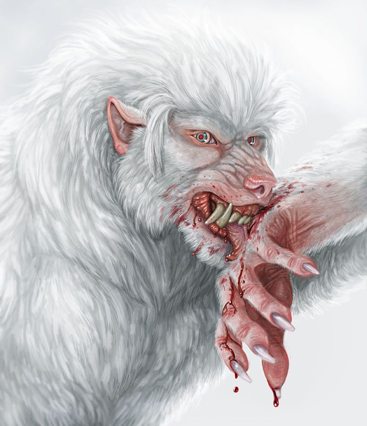 This was an exercise in painting a werewolf picture that was mostly white rather than mostly black.