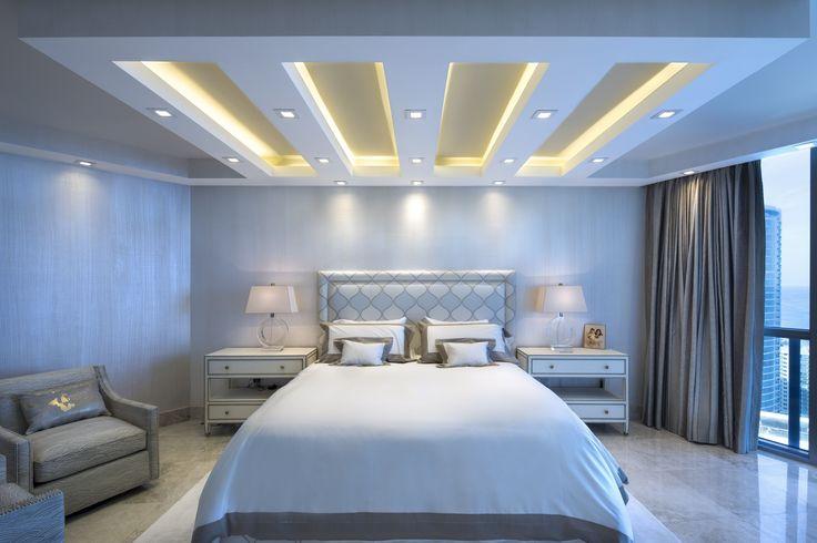Designer: Sarah Zohar, Photo Credit: Paul Stoppi, The master bedroom at the Ocean Palms condo in Hollywood,FL