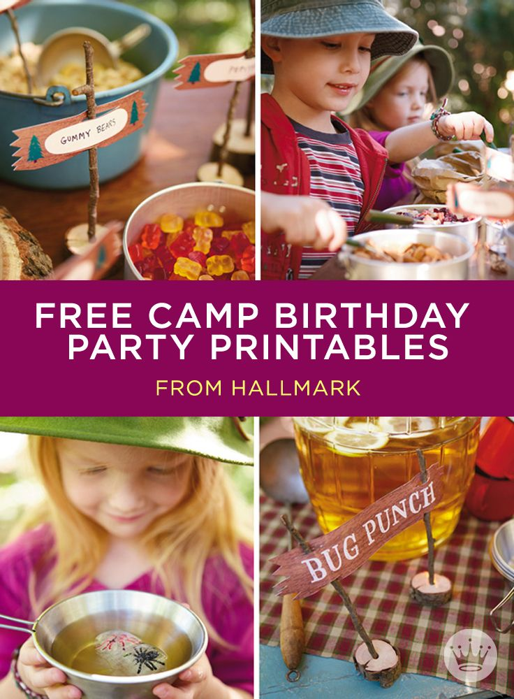 Fun birthday party ideas, free printable invitations and decorations, recipes and campfire cake instructions.