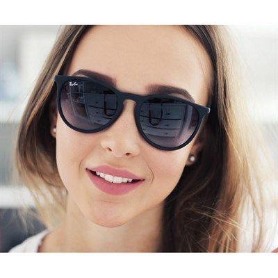Óculos de Sol Ray Ban Erika Metal Preto com Lente Cinza - RB35390028G c7bc404048d