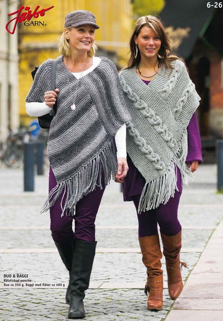 Garter stitch poncho. Make it with or without cable stitches.