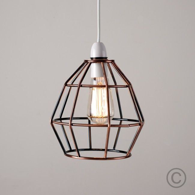 Industrial style angus basket pendant shade