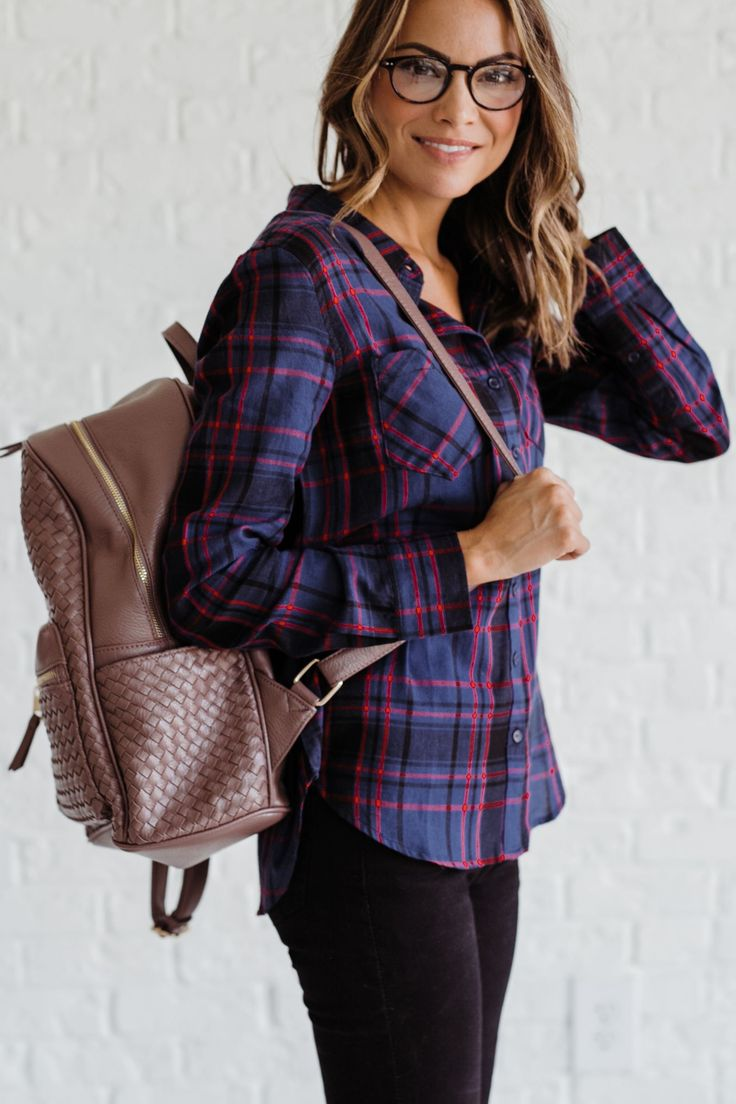 Bella Ella Boutique's Ordinary Day Blue Plaid Top is a must have for all your fall activities! This long sleeved top features a blue and red plaid print with a button down front. The lightweight material is perfect for the cooler weather, or add a Navy Three Button Cardigan when things get chilly. Put on some Santiago Dark Wash Denim Skinny Jeans and your favorite boots and you are ready to go!  #college #college girl #mom #bellas #style #shopping #onlineboutique #backtoschool #falloutfit