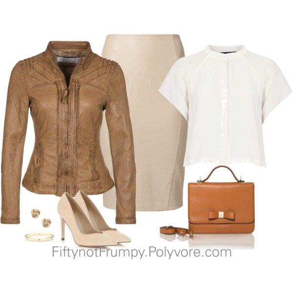 """""""Brown Leather Jacket"""" by fiftynotfrumpy on Polyvore"""