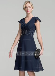 [US$ 99.99] A-Line/Princess V-neck Knee-Length Chiffon Mother of the Bride Dress With Ruffle Beading Sequins (008091940)