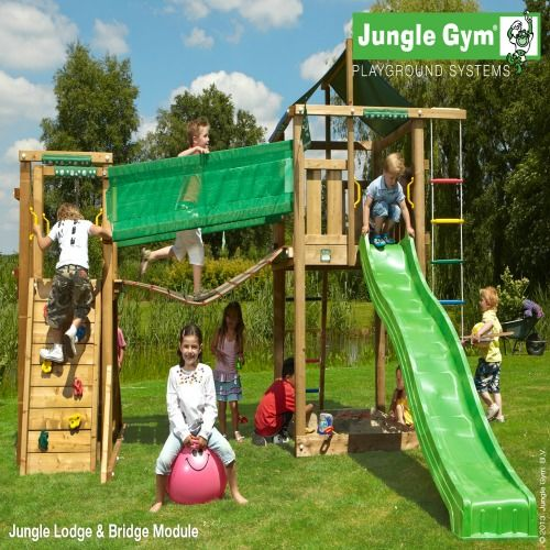 Jungle Gym Lodge & Bridge Module - Wooden Climbing Frames for Children : Wooden Climbing Frames for children