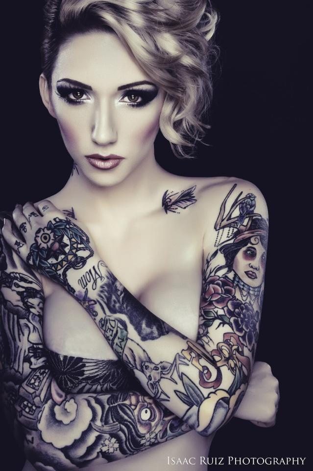 body modification tattoo tattoos women woman undercut half shaved asymmetrical makeup highlights sleeve sleeves edgy dramatic