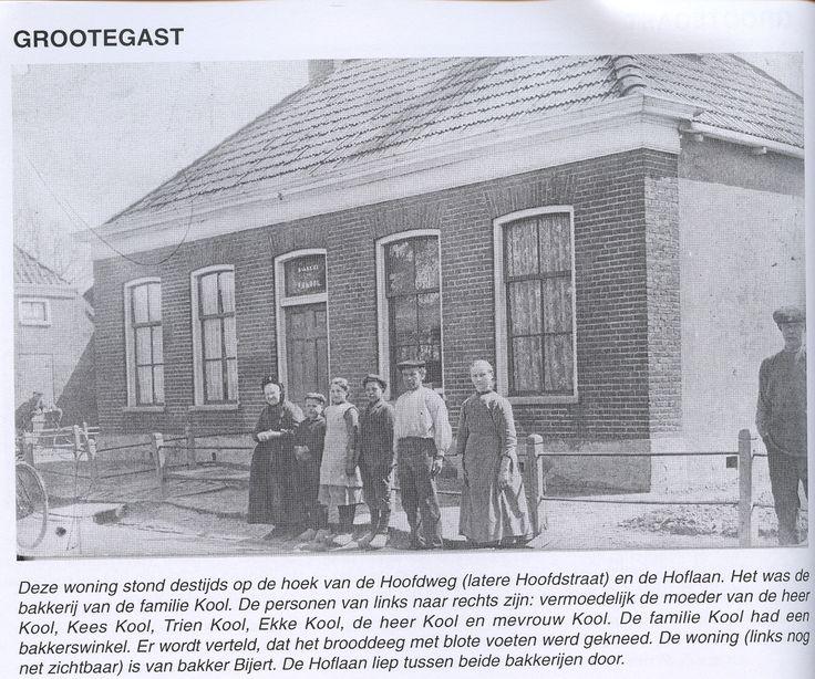 De bakkerij van de familie Kool op de hoek van de Hoofdweg (later: Hoofdstraat) en de Hoflaan in Grootegast