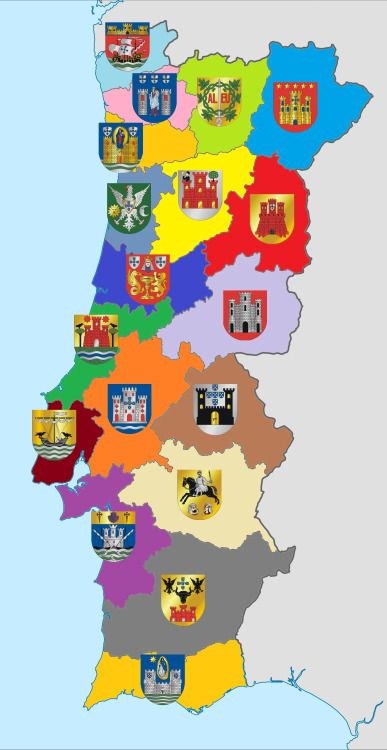 """Coat of Arms from the capitals of the 18th districts of Portugal.[[MORE]]Note: Portuguese districts don't have any coat of arms or flag to represent themselves, so in this map the coat of arms are the ones from the """"district's capitals"""".Light blue (top): Viana do Castelo Light pink: Braga Light green: Vila Real Blue-marine (top right): Bragança """"Yellorange"""": Porto (oPorto) Blue-grey: Aveiro Yellow: Viseu Red: Guarda Blue: Coimbra Light purple: Castelo Bran..."""