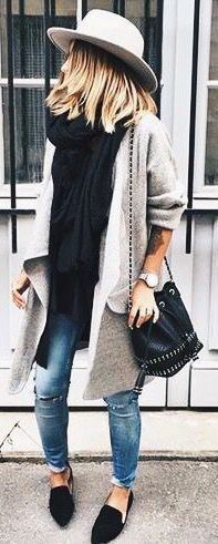 #fall #fashion / gray coat + layers