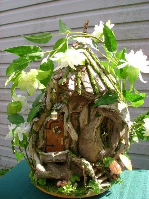 1/12th scale OOAK Driftwood FAIRY HOUSE Cottage dollhouse by J. McLaughlin in Dolls & Bears, Dolls, Art Dolls-OOAK | eBay