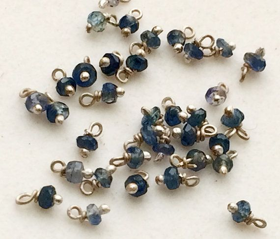 10 Pcs Sapphire Rondelle Beads Wire Wrapped by gemsforjewels