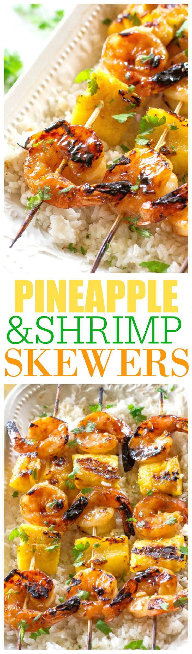 These Grilled Shrimp and Pineapple Skewers are served over coconut rice and are covered with Sweet Baby Ray's Teriyaki glaze. the-girl-who-ate-everything.com