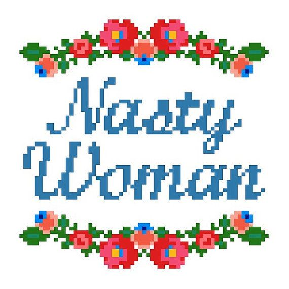 *PDF* File Only, this is not a finished piece or physical pattern.  NASTY WOMAN with colorful floral border. Perfect for any nasty womans home.  This original pattern requires only the basic cross-stitch. The finished pattern measures approximately 5 x 5 (65 x 65 stitches) on 14-count aida and calls for DMC brand floss. Total stitch count: 1,442; color count: 11.  PDFs included: Cover sheet with instructions and list of required materials, and a color/symbol chart pattern with DMC legend…