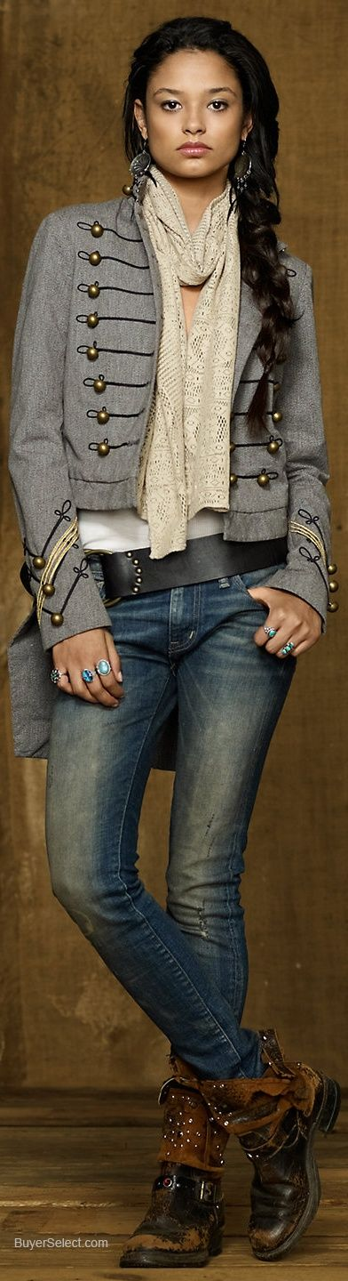 Interesting western flavor outfit with and outdoors appeal, shades of old New Orleans.
