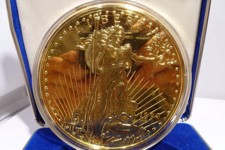 1994 Washington Mint Giant Golden Eagle Silver Round - 8oz .999 Silver & 24K