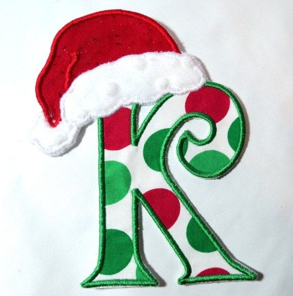 big santa hat polka dot fabric font letter applique make your own iron on applique patch sew or no sew u pick letter and colour