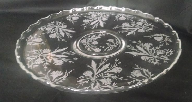 Fostoria Pressed Glass Century Pattern Round Sandwich Platter with Etched Heather Pattern by StoneArborTreasures on Etsy