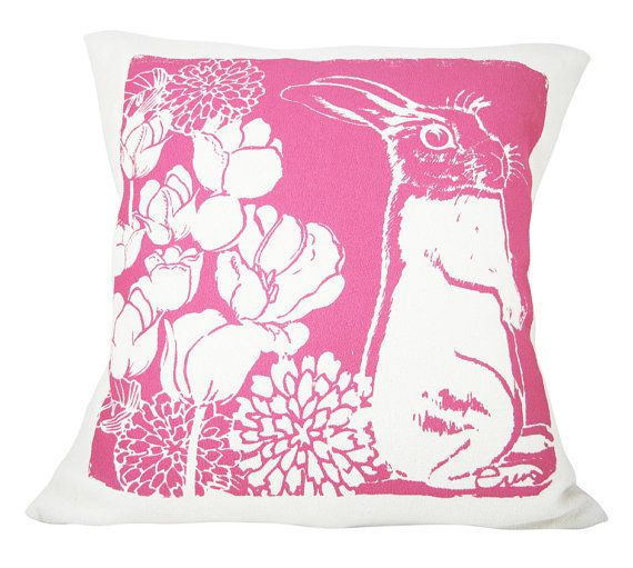 Hot Pink Bunny Pillow niño almohada color de rosa por erinflett