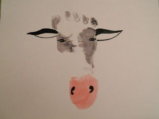 """This years Indiana State Fair theme """"the year of the dairy cow"""" inspired me to make thank you cards with MacchiOTTo's footprint.  Her little footprint was transformed into a cow's face with her toes as the curly hair on the poll of the cows head and her heel as the nose and mouth. Here is how I mad"""