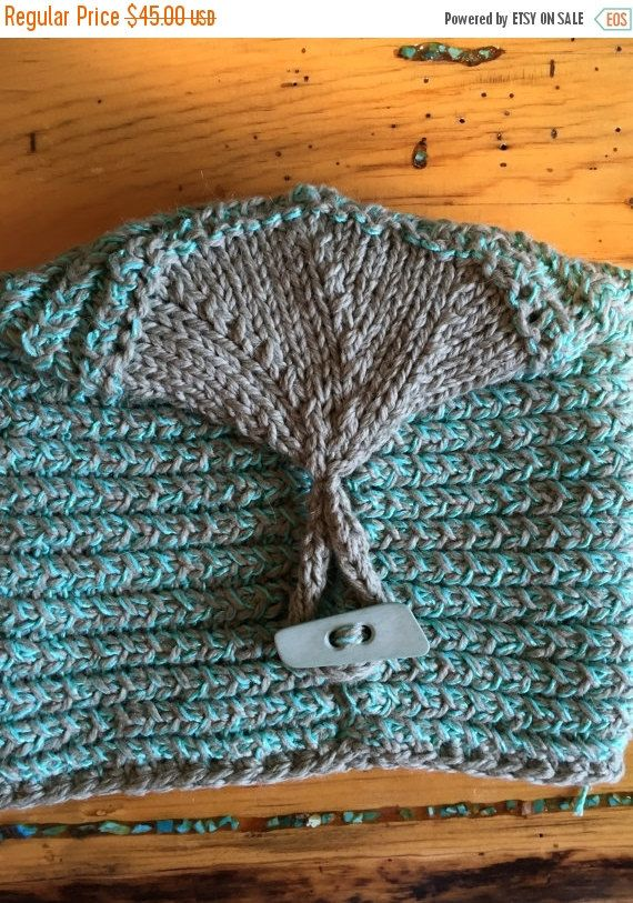 ON SALE Hand Knit Original Trendy Women Hat Turquoise and Grey One of a Kind Button Down Balck Friday