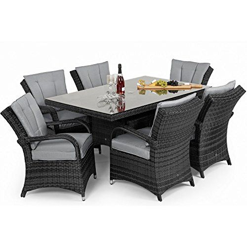 Tyler Rattan Garden Furniture Grey 6 Seater Rectangle Table Set. Grey Rattan Garden Furniture ile ilgili Pinterest teki en iyi 25