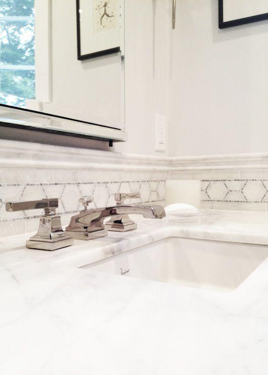 Seventy Five Arlington - bathrooms - porcher sink, white marble countertops, white marble counter, mosaic marble tiles, mosaic marble accent tiles, medicine cabinet,