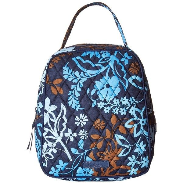 Vera Bradley Lunch Bunch (Java Floral) Bags ($34) ❤ liked on Polyvore featuring bags, handbags, blue handbags, vera bradley handbags, strap purse, blue purse and vera bradley