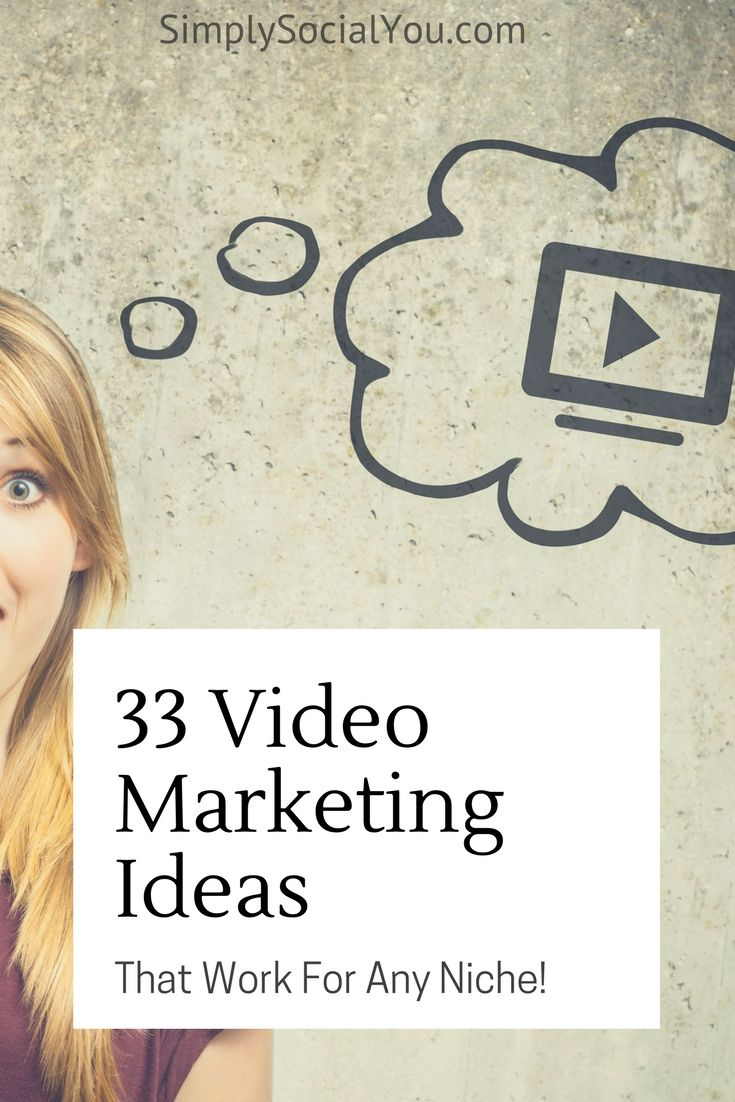 Here are 33 creative video marketing ideas you can use to jump-start your video marketing efforts! | http://simplysocialyou.com/blog/33-video-ideas/ | video marketing ideas | video marketing | video