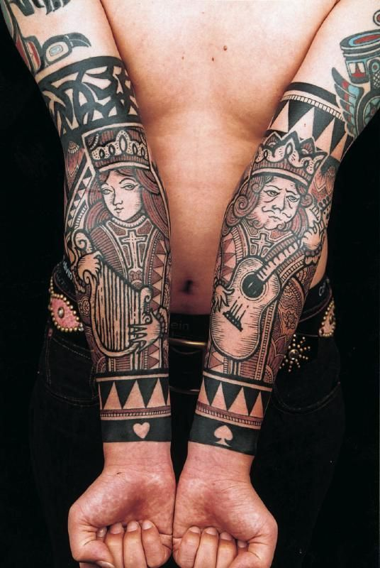 King and Queen of Spades Sleeve Tattoos