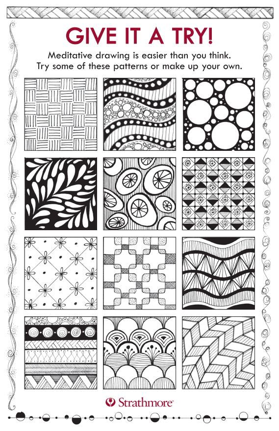 Free downloadable template with patterns & designs for meditative drawing - designs by Jane Oliver