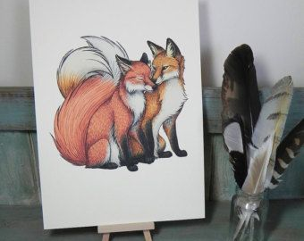 Fox Couple Illustration - Digital Print on A4 300gsm Ivory Laid Card
