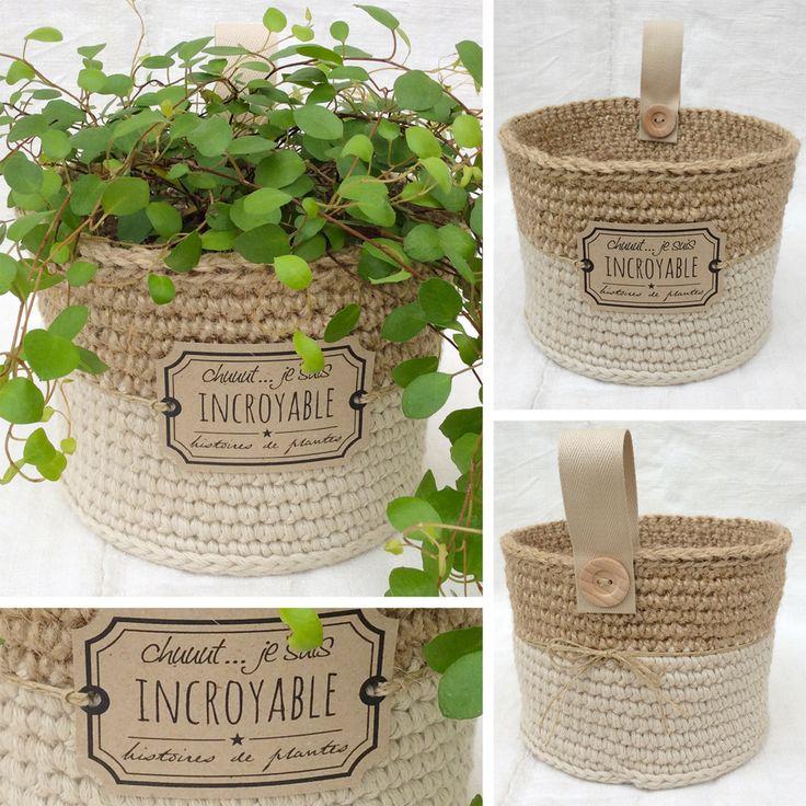 Panier cache pot de la collection naturels poudr s r alis au crochet avec du fil coton natura - Cache pot a accrocher au mur ...