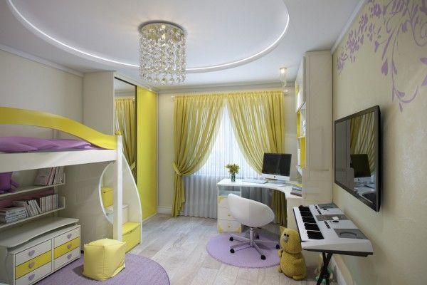 Желтые шторы с подхватами и тюлью к желтой мебели