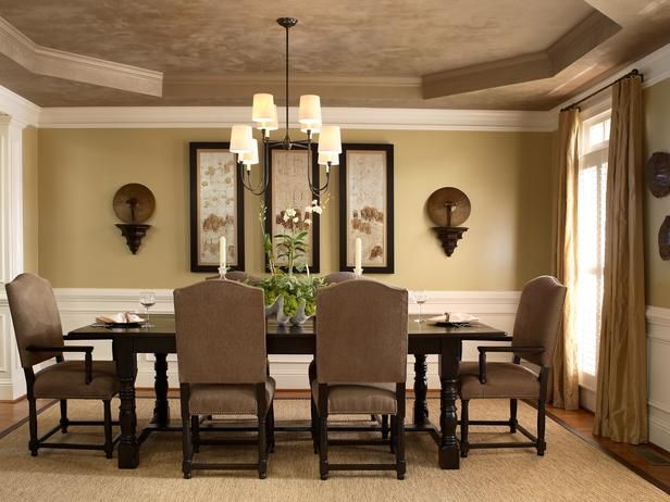 Neutral Colors For Living Room Dining With Tray Ceiling And White Crown Molding