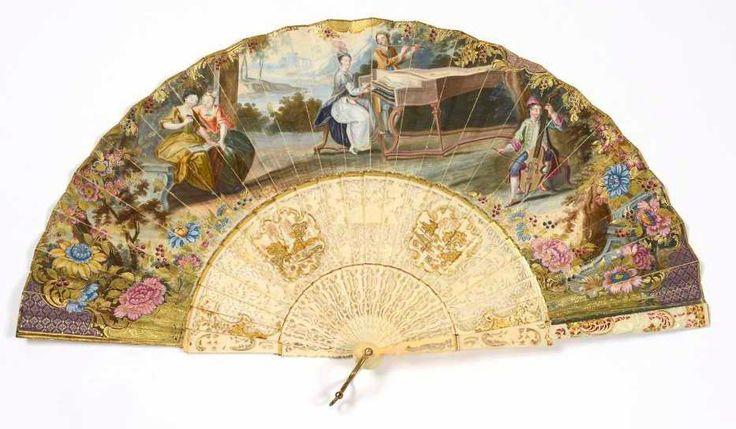 Hand Fan - gouache on vellum, ivory,painting, circa 1740 - Deburaux
