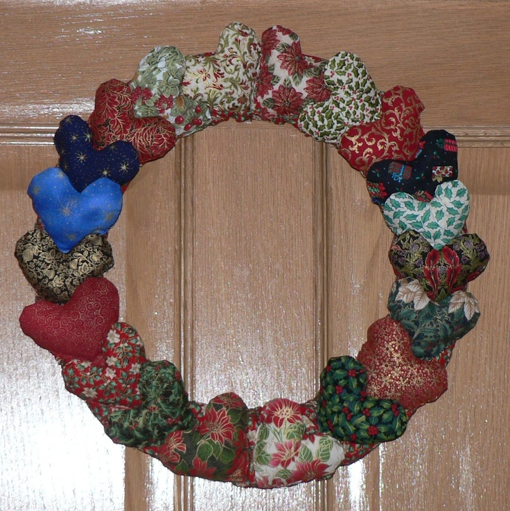 My first Christmas wreath made which I made with stuffed fabric hearts