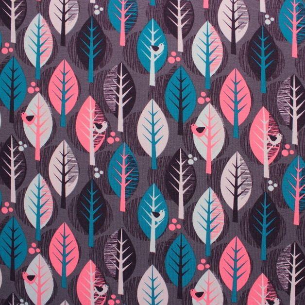 Bio-Stoffe - Strech Jersey Kombistoff Blätter & Vögel - ein Designerstück von tusentack bei DaWanda