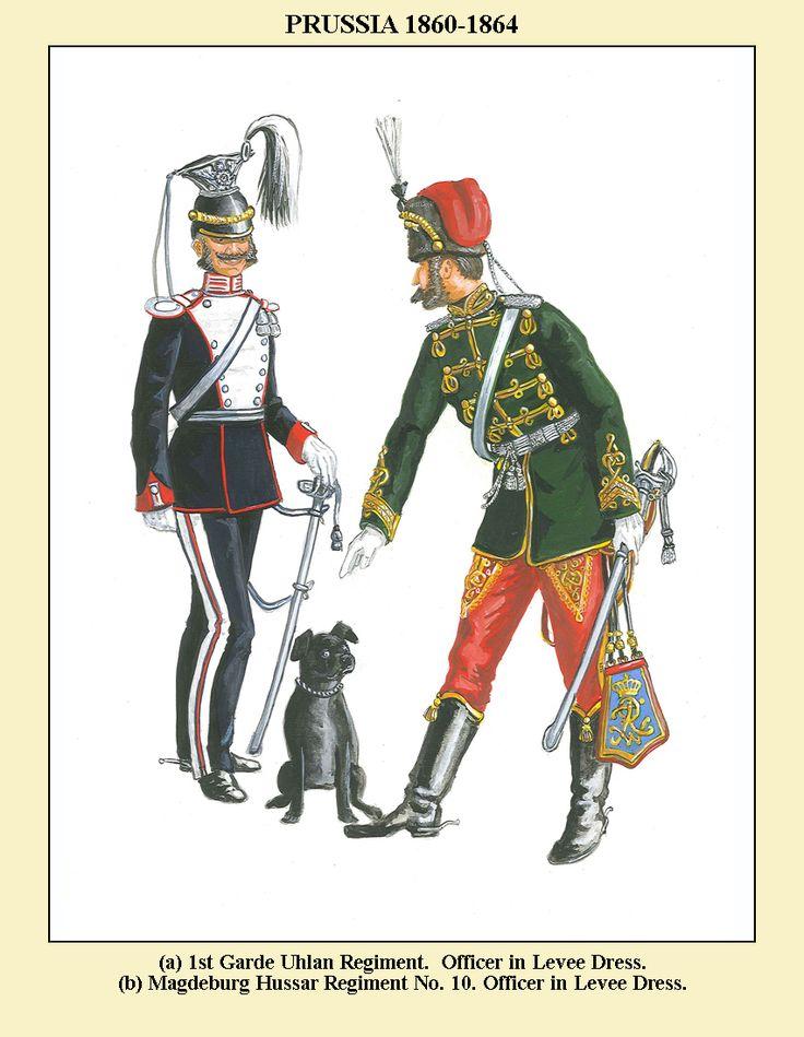 Prussia; 1st Garde Uhlan Regiment, Officer, Levee Dress & 10t(Magdeburg) Hussar Regiment, Officer, Levee Dress, 1860-64
