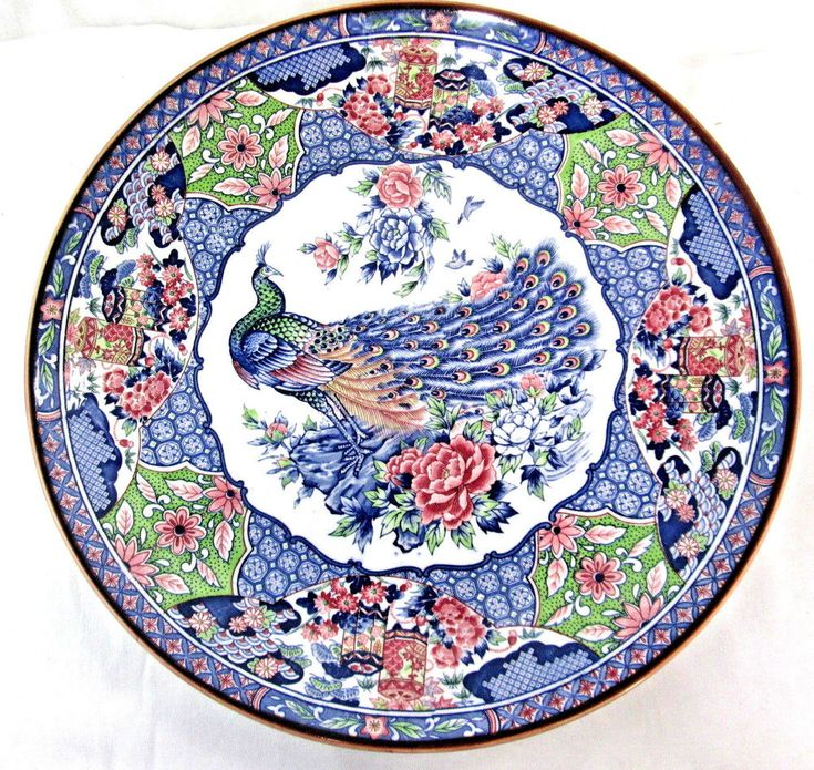 """Peacock Charger Plate Japan Oriental Asian Wall Decor 15"""" Diameter #Unbranded offered by robinsnestonline on eBay"""