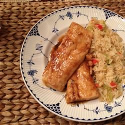 Maple cajun mahi mahi (or other fish). My note: I doubled recipe for 4 pieces, wrapped in foil and baked at 350/375 til cooked, about 45 mins from frozen.