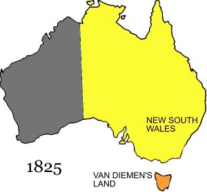 On July 16 1825 the western border of New South Wales is extended to 129° E. On December 3 1825, the island of Van Diemen's Land is split off from NSW and the colony of Van Diemen's Land is created. On May 2 1829 Charles Fremantle proclaims the Swan River Colony, which occupies the rest of the Australian mainland.
