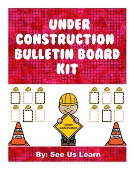 "This kit includes the materials needed create an ""Under Construction"" themed bulletin board for displaying student work. The kit includes supplies for: - ""Kids At Work"" cones - Large construction kid holding an ""Under Construction"" sign - Hardhat nametags - Borders for"