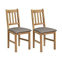 Pair of oak 'Chester' chairs with grey fabric seats